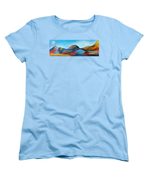 Women's T-Shirt (Standard Cut) featuring the painting Galaxyscape by Elizabeth Fontaine-Barr