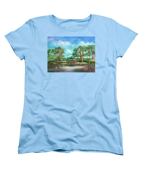 Women's T-Shirt (Standard Cut) featuring the painting  Summer In The Garden Of Eden by Randol Burns