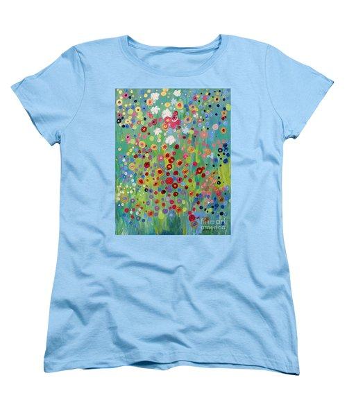 Women's T-Shirt (Standard Cut) featuring the painting Garden's Dance by Stacey Zimmerman