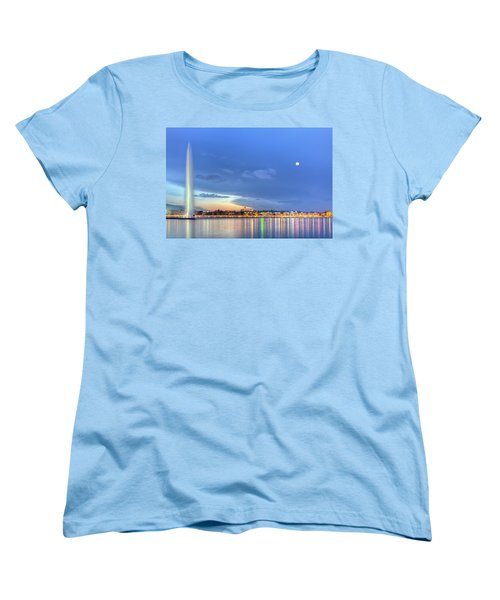 Geneva Lake With Famous Fountain, Switzerland, Hdr Women's T-Shirt (Standard Cut) by Elenarts - Elena Duvernay photo