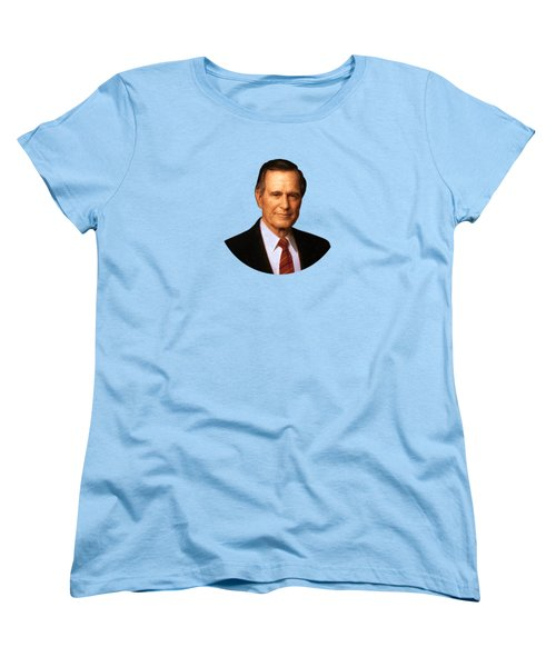 George Hw Bush Presidential Portrait Women's T-Shirt (Standard Cut) by War Is Hell Store
