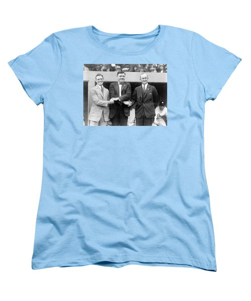 Women's T-Shirt (Standard Cut) featuring the photograph George Sisler - Babe Ruth And Ty Cobb - Baseball Legends by International  Images