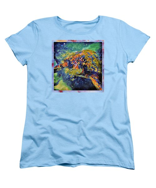 Women's T-Shirt (Standard Cut) featuring the painting George The Turtle by Erika Swartzkopf
