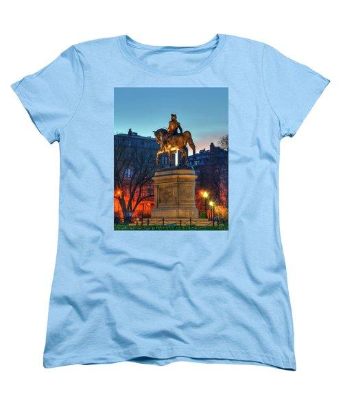 Women's T-Shirt (Standard Cut) featuring the photograph George Washington Statue In Boston Public Garden by Joann Vitali