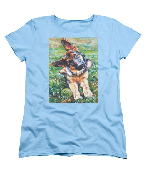 German Shepherd Pup With Ball Women's T-Shirt (Standard Cut) by Lee Ann Shepard