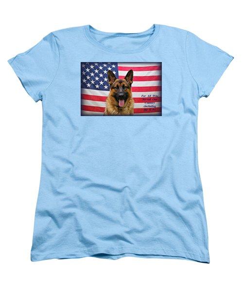 German Shepherd - U.s.a. - Text Women's T-Shirt (Standard Cut) by Sandy Keeton