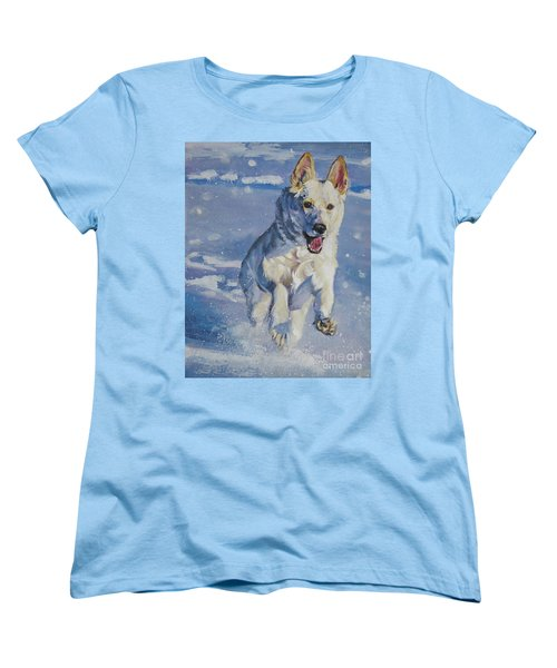 German Shepherd White In Snow Women's T-Shirt (Standard Cut) by Lee Ann Shepard