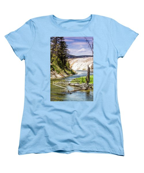 Women's T-Shirt (Standard Cut) featuring the photograph Geyser Stream by Dawn Romine