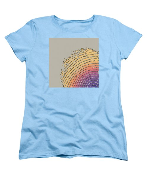Giant Iridescent Fingerprint On Beige Women's T-Shirt (Standard Cut) by Serge Averbukh