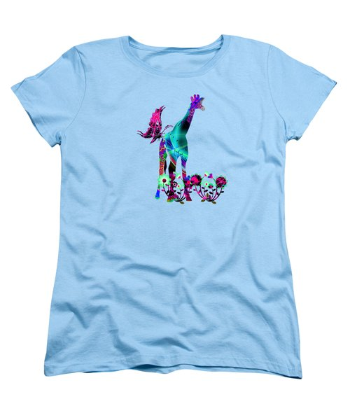 Giraffe And Flowers2 Women's T-Shirt (Standard Cut) by EricaMaxine  Price