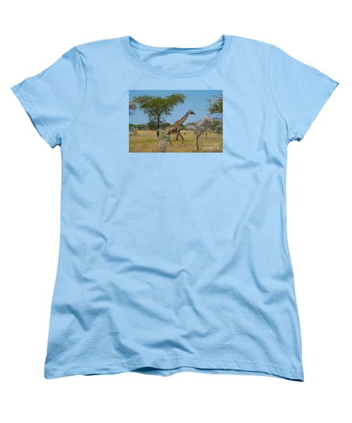 Giraffe On The Move Women's T-Shirt (Standard Cut) by Pravine Chester