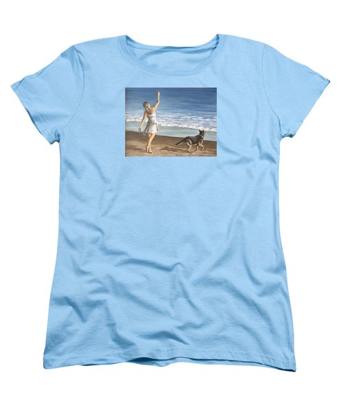 Women's T-Shirt (Standard Cut) featuring the painting Girl And Dog by Natalia Tejera