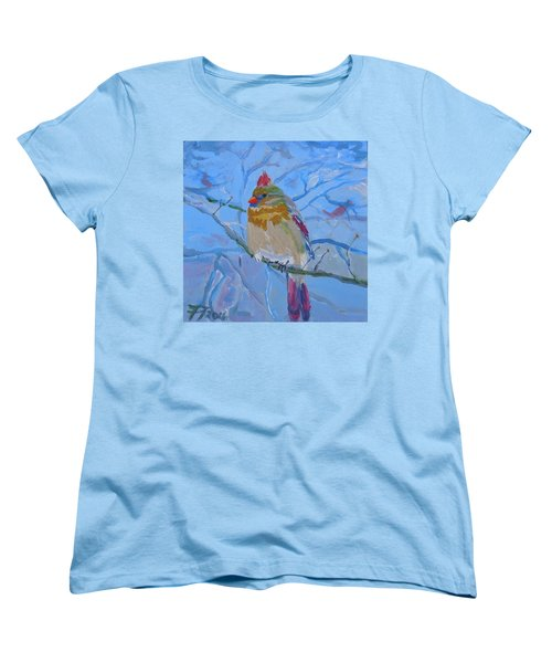 Women's T-Shirt (Standard Cut) featuring the painting Girl Cardinal by Francine Frank