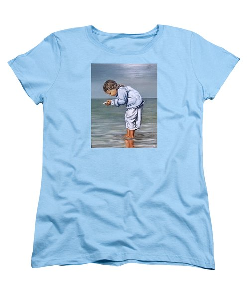 Women's T-Shirt (Standard Cut) featuring the painting Girl With Shell by Natalia Tejera