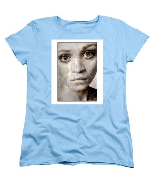 Women's T-Shirt (Standard Cut) featuring the photograph Girls Face With Snake Skin Texture by Michael Edwards