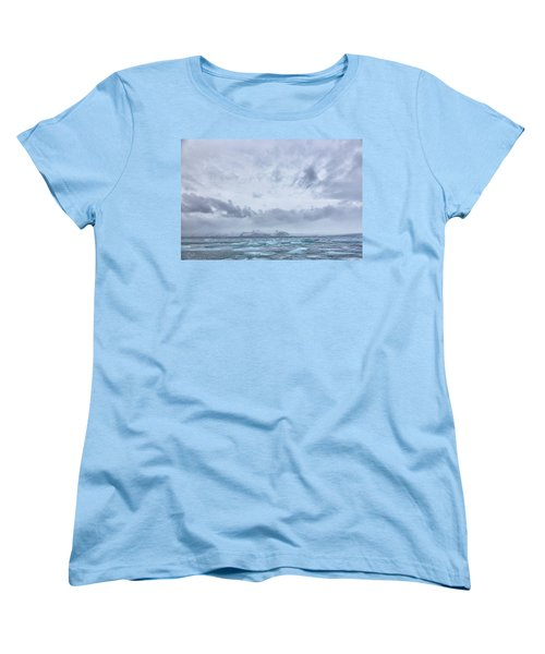 Women's T-Shirt (Standard Cut) featuring the tapestry - textile Glacial Lagoon Iceland by Kathy Adams Clark