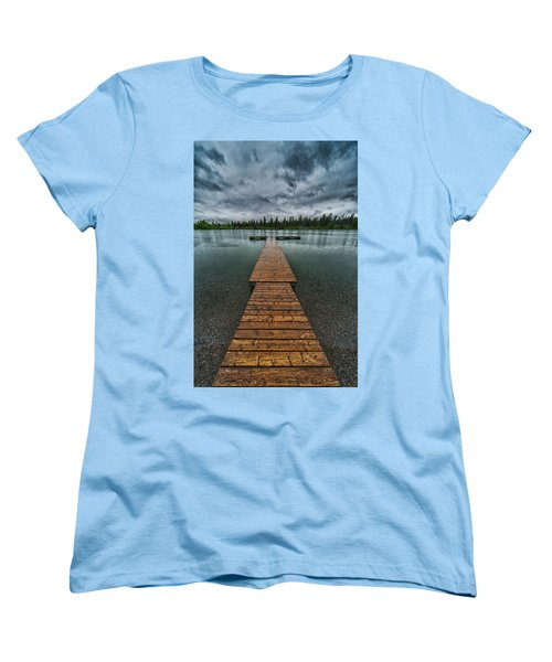 Women's T-Shirt (Standard Cut) featuring the photograph Gloomy Rainy Day On Norbury Lake by Darcy Michaelchuk