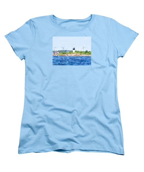 Gloucester Skyline From Harbor With Windmills And Ten Pound Island Lighthouse Women's T-Shirt (Standard Cut) by Melissa Abbott