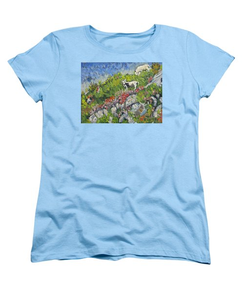 Women's T-Shirt (Standard Cut) featuring the painting Goats On Hill by Michael Daniels
