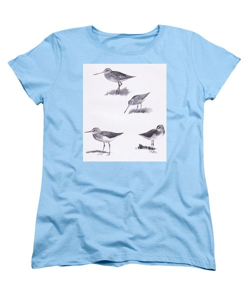 Godwits And Green Sandpipers Women's T-Shirt (Standard Cut) by Archibald Thorburn