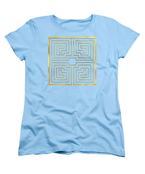 Women's T-Shirt (Standard Cut) featuring the digital art Gold Stripes Transparent by Chuck Staley