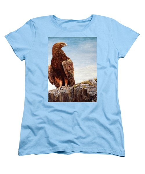 Women's T-Shirt (Standard Cut) featuring the painting Golden Eagle by Judy Kirouac