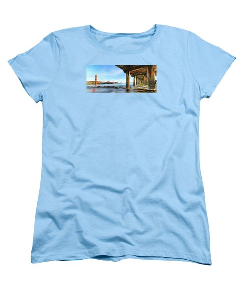 Golden Gate Bridge From Under Fort Point Pier Women's T-Shirt (Standard Cut) by Steve Siri