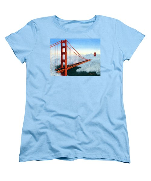 Golden Gate Bridge Sunset Women's T-Shirt (Standard Cut) by Mike Robles