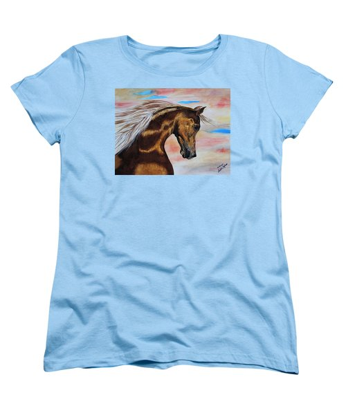 Golden Horse Women's T-Shirt (Standard Cut) by Melita Safran