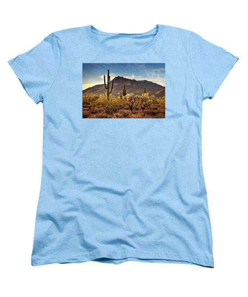 Women's T-Shirt (Standard Cut) featuring the photograph Golden Hour On Usery Mountain  by Saija Lehtonen