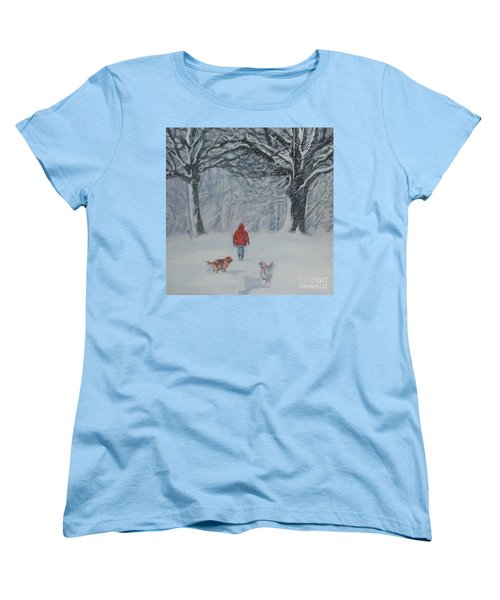 Golden Retriever Winter Walk Women's T-Shirt (Standard Cut) by Lee Ann Shepard
