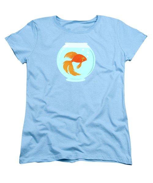 Goldfish Fishbowl Women's T-Shirt (Standard Cut) by Little Bunny Sunshine