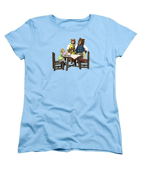 Women's T-Shirt (Standard Cut) featuring the painting Goldilocks N The 3 Bears by Methune Hively