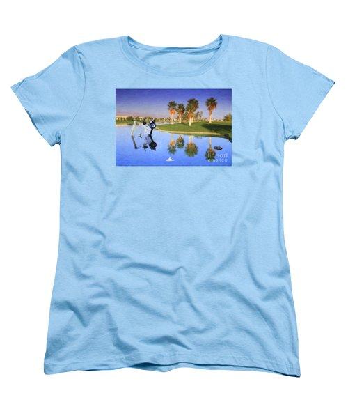 Women's T-Shirt (Standard Cut) featuring the photograph Golf Cart Stuck In Water by David Zanzinger