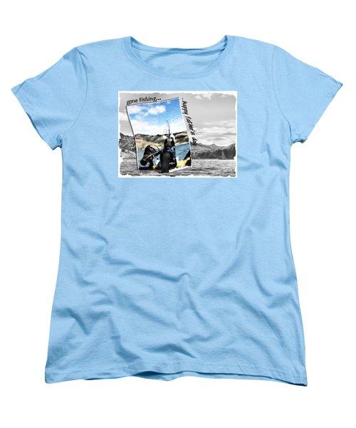 Gone Fishing Father's Day Card Women's T-Shirt (Standard Cut) by Susan Kinney