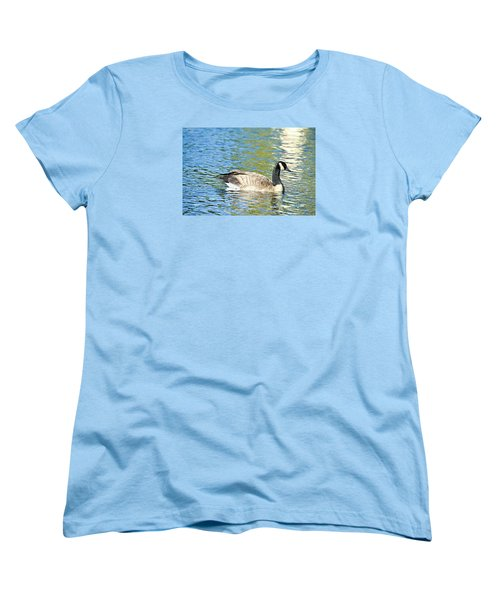 Women's T-Shirt (Standard Cut) featuring the photograph Goose And Sun Reflections by David Lawson