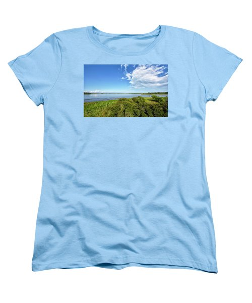 Women's T-Shirt (Standard Cut) featuring the photograph Gordons Pond Overlook - Cape Henlopen State Park - Delaware by Brendan Reals