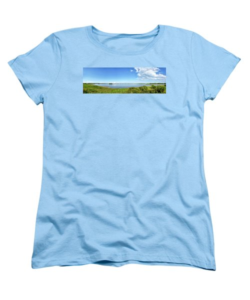 Gordons Pond Panorama - Cape Henlopen State Park - Delaware Women's T-Shirt (Standard Cut) by Brendan Reals