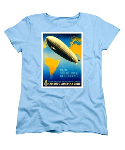 Graf Zeppelin Hamburg Amerika Line II 1936 Ottomar Anton Women's T-Shirt (Standard Cut) by Peter Gumaer Ogden Collection