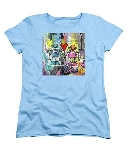 Graffiti Pop Robot Love Women's T-Shirt (Standard Cut) by Roseanne Jones