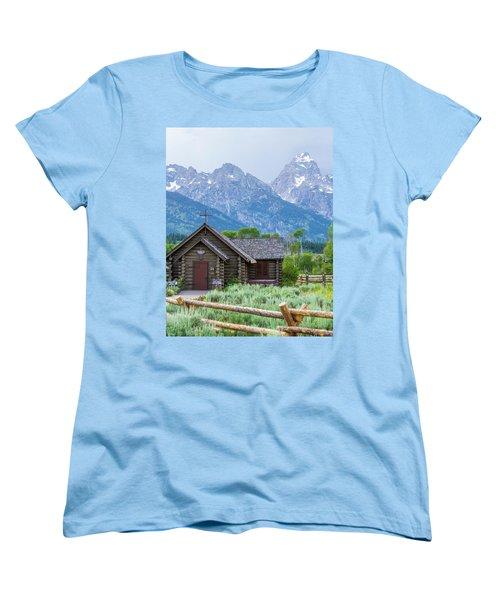 Women's T-Shirt (Standard Cut) featuring the photograph Grand Teton Church by Dawn Romine