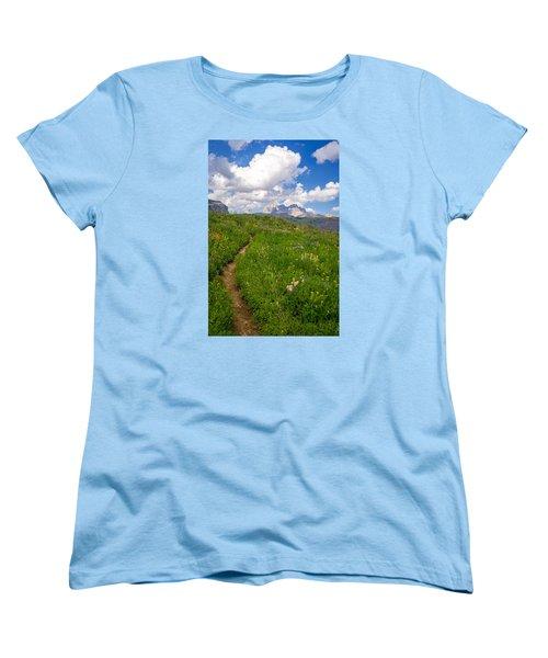Grand Teton Scenic Hiking Path Women's T-Shirt (Standard Cut) by Serge Skiba