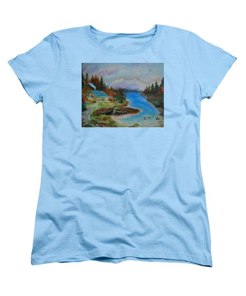 Women's T-Shirt (Standard Cut) featuring the painting Grandmas Cabin by Leslie Allen