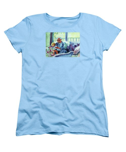Women's T-Shirt (Standard Cut) featuring the painting Grandpa Reading by Kathy Braud