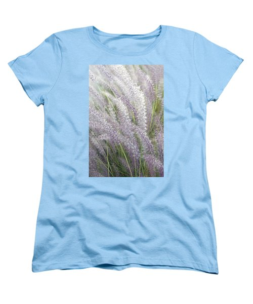 Women's T-Shirt (Standard Cut) featuring the photograph Grass Is More - Nature In Purple And Green by Ben and Raisa Gertsberg