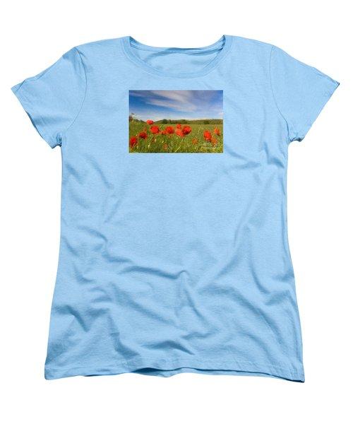 Women's T-Shirt (Standard Cut) featuring the photograph Grassland And Red Poppy Flowers by Jean Bernard Roussilhe