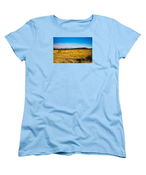 Women's T-Shirt (Standard Cut) featuring the photograph Grazing Horses by Cathy Donohoue