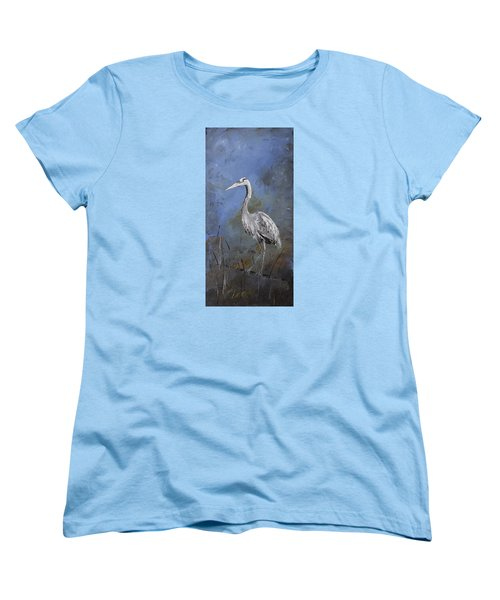 Great Blue Heron In Blue Women's T-Shirt (Standard Cut) by Carolyn Doe