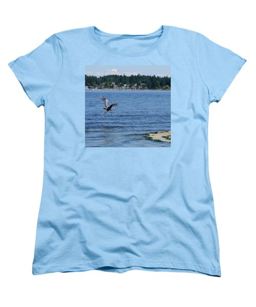 Women's T-Shirt (Standard Cut) featuring the photograph Great Blue Heron by Peter Mooyman