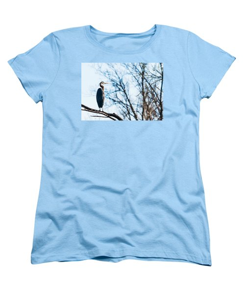 Women's T-Shirt (Standard Cut) featuring the photograph Great Blue Heron Sitting In A Tree by Edward Peterson